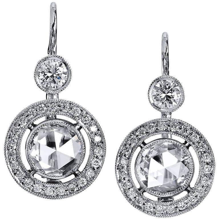 H & H 2.30 Carat Diamond White Gold Lever-Back Earrings
