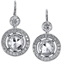 H & H 2.30 Carat Diamond White Gold Lever-Back Earrings