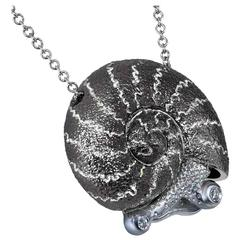 Diamond Silver Snail Pendant Necklace on Chain Handmade in NYC Limited Edition