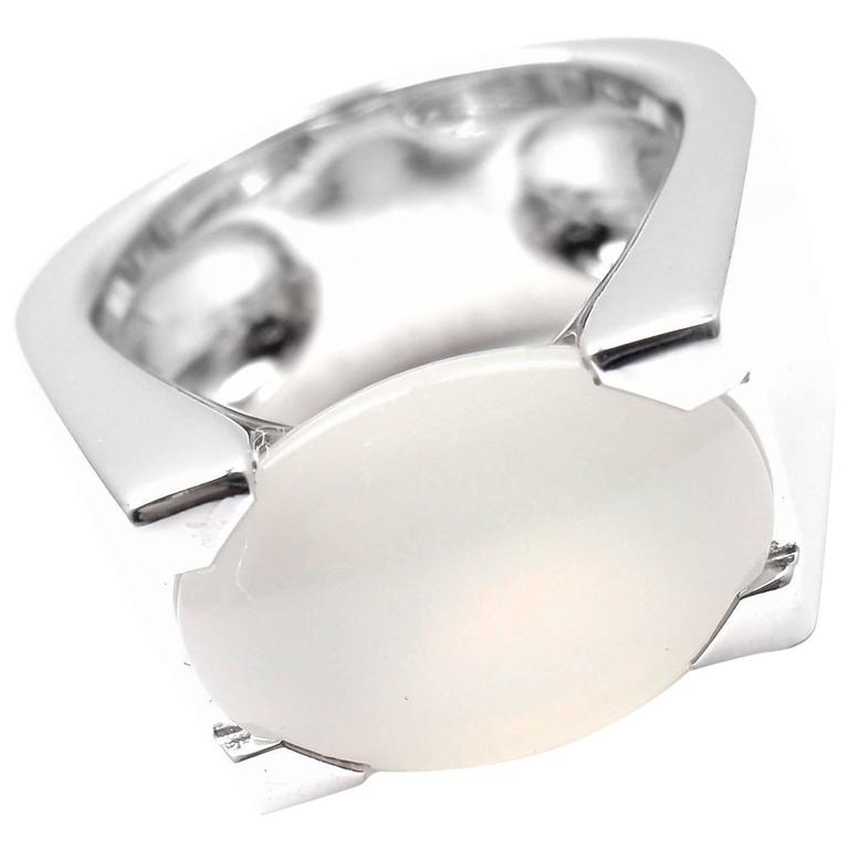 Cartier Moonstone Large White Gold Ring For Sale