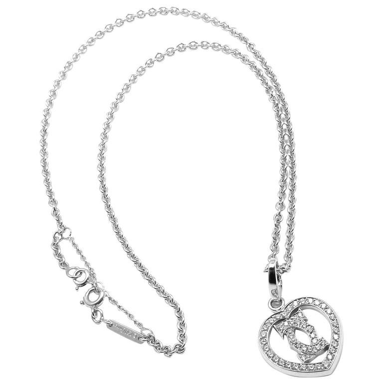 Cartier Diamond Heart Double C White Gold Pendant Necklace