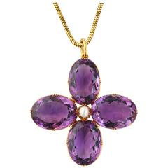 Victorian Amethyst and Natural Pearl Pendant  Necklace and Chain
