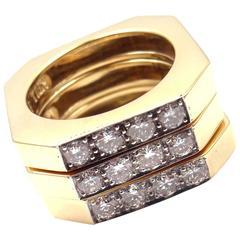 David Webb Diamond Set of Three Stackable Yellow Gold and Platinum Band Rings