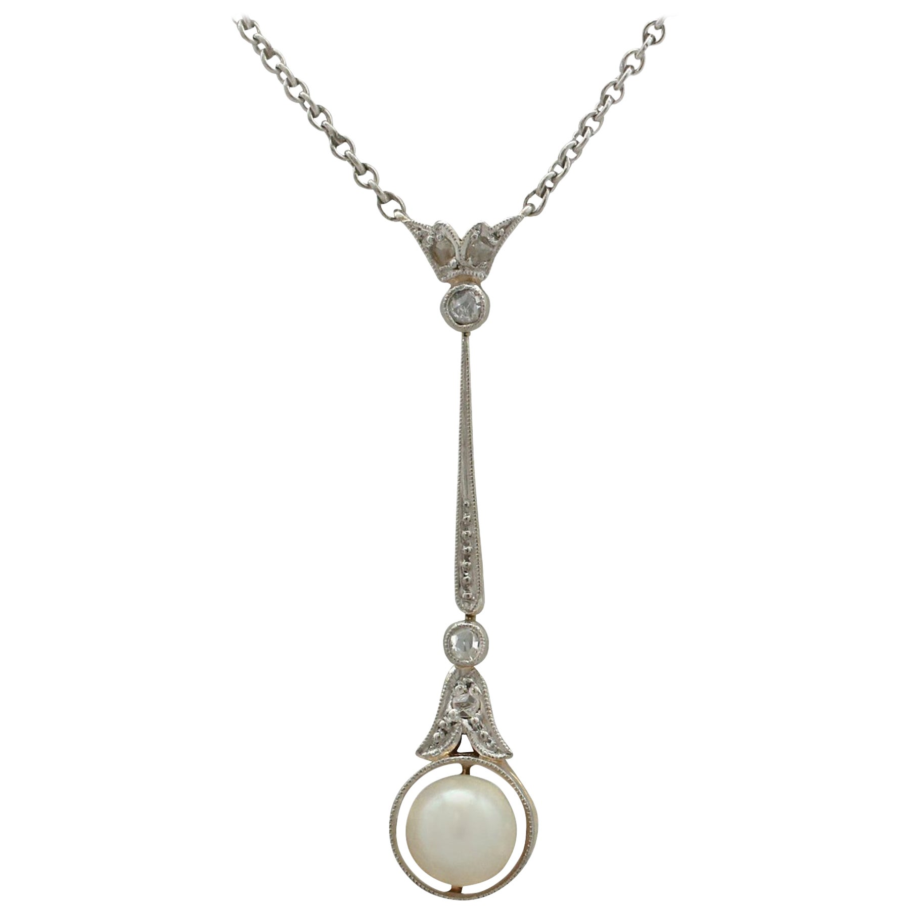 Antique 1910s Diamond and Seed Pearl Yellow Gold Pendant