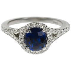 Vivid Blue Sapphire Diamond Gold Ring