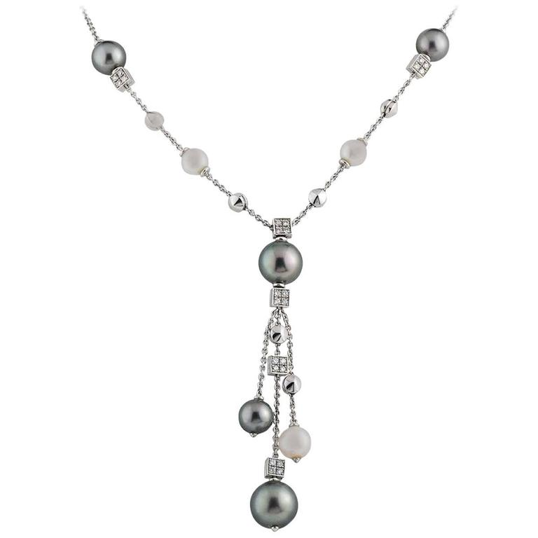 Bulgari Lucea Diamond and Pearl Necklace For Sale