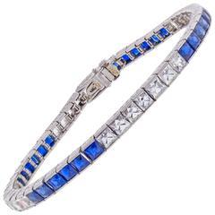 Marcus & Co. Sapphire French Cut Diamond Platinum Bracelet