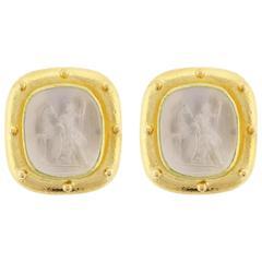 Elizabeth Locke Hera Venetian Glass Mother-of-Pearl Intaglio Gold Earrings