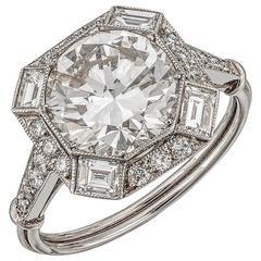 2.18 Carat Old Cut Diamond platinum Ring