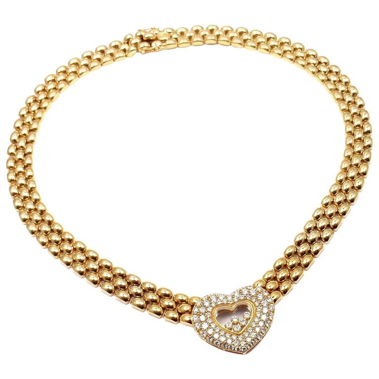 Chopard Happy Diamonds Diamond Heart Yellow Gold Necklace For Sale