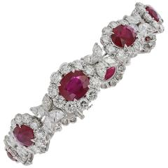 Burmese Ruby Diamond Platinum Bracelet