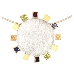 Janis Kerman Citrine Iolite Peridot Garnet Sterling Silver Gold Pendant