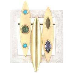 Janis Kerman Iolite Tourmaline Turquoise Sterling Silver Gold Brooch