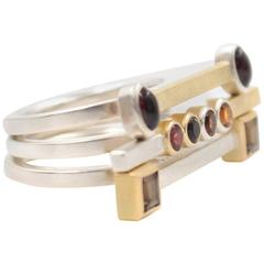 Smokey Quartz Garnet Citrine Sterling Silver Gold Set of Three Rings