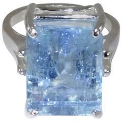 Emerald Cut Aquamarine Set in Sterling Silver Ring