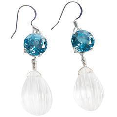 Blue Topaz and Quartz Crystal Earrings