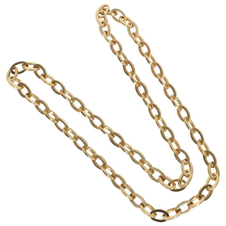 Long Heavy Gold Oval Links Chain Necklace 1