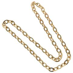 Long Heavy Gold Oval Links Chain Necklace