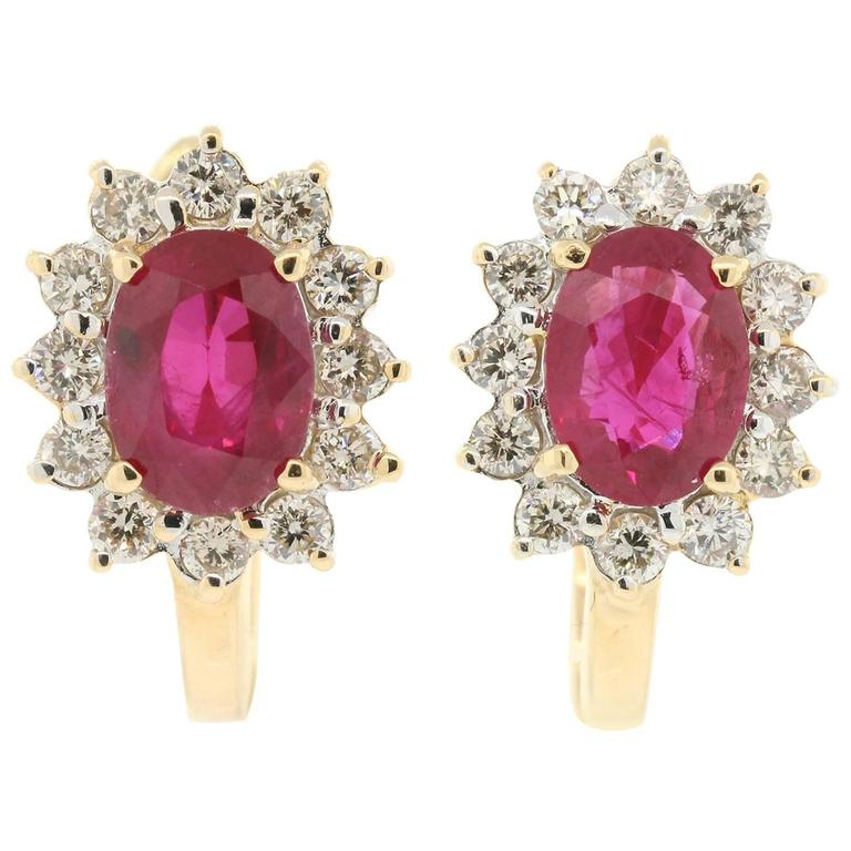 Ruby Diamond Gold Cluster Earrings