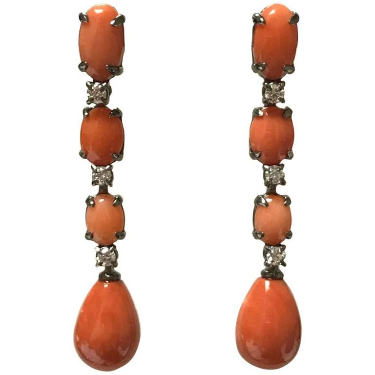 Black Gold Coral and Diamonds Chandelier Earrings