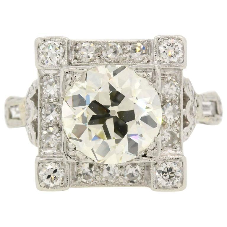 Art Deco Old European Cut Diamond Platinum Ring For Sale