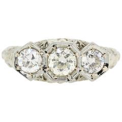 Art Deco Three-Stone Diamond Platinum Ring
