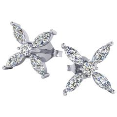 Ferrucci 1.06 Carat Marquise Diamond Earrings