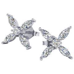 Ferrucci 1.06 Carat Marquise Diamond Earrings