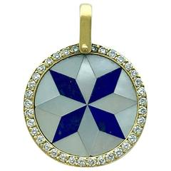 1970s Mother-of-Pearl Lapis Lazuli Diamond Yellow Gold Rosette Pendant