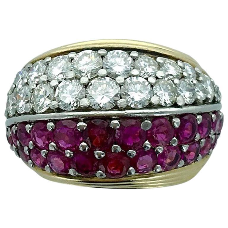 1950s Ruby Diamond Gold Platinum Ring