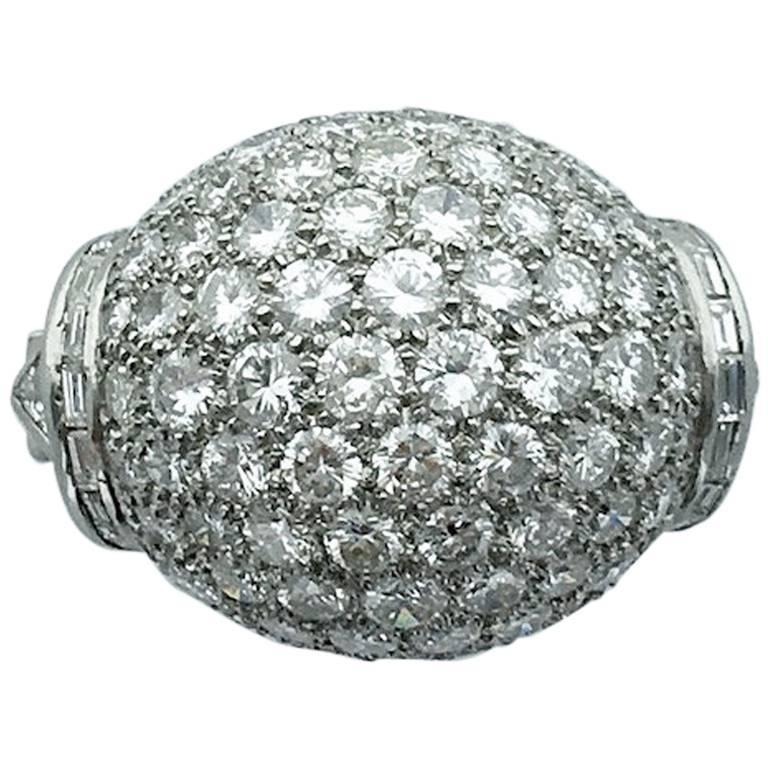 1940s Diamond Platinum Ring For Sale