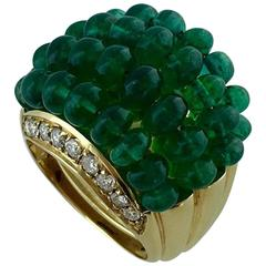 Nouvelle Vague Emerald Beads Diamond Yellow Gold Ring