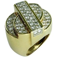 1980s Heyman Brothers American Diamond and Gold Ring