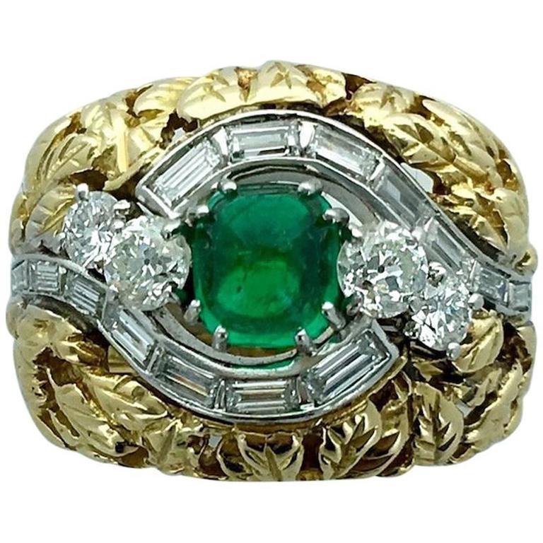 1970s Cabochon Emerald Diamond Gold Platinum Ring