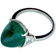 7.24 Carat Colombian Emerald on Diamond Platinum Art Deco Ring