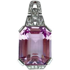 35.72 Carat Natural Morganite Art Deco Diamond Platinum Pendant