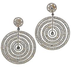 Large Pearl Diamond Moveable Circle Earrings
