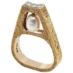 Andrew Grima Pearl Diamond Yellow Gold Ring, 1969
