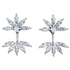 Ferrucci 2.40 Carat Marquise Diamonds Star  Platinum Earrings