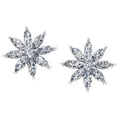 Ferrucci 2.00 Carat Marquise Stars Diamond Platinum Earrings