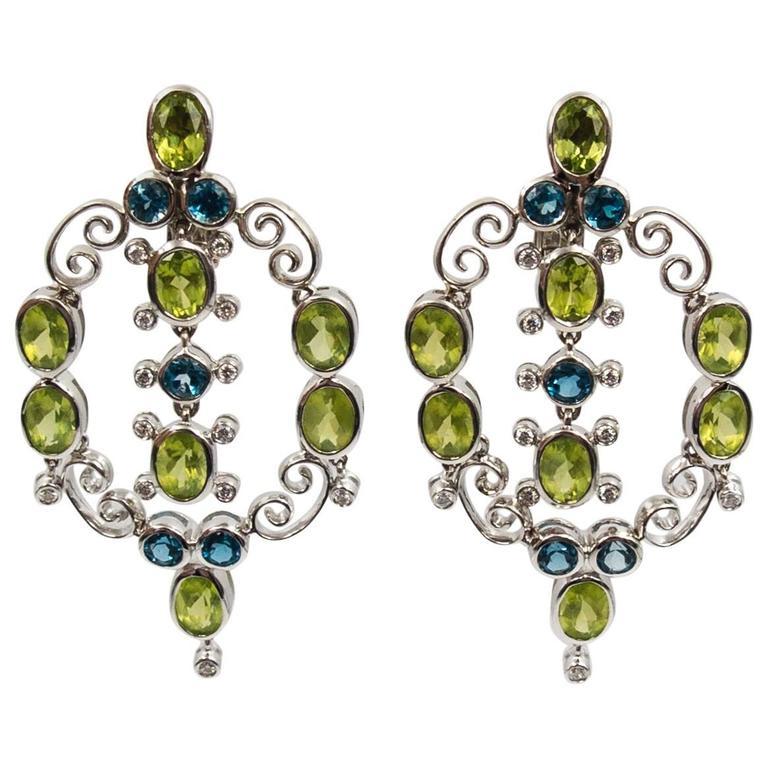 Laura Munder Peridot Topaz White Gold Springtime Earrings For Sale
