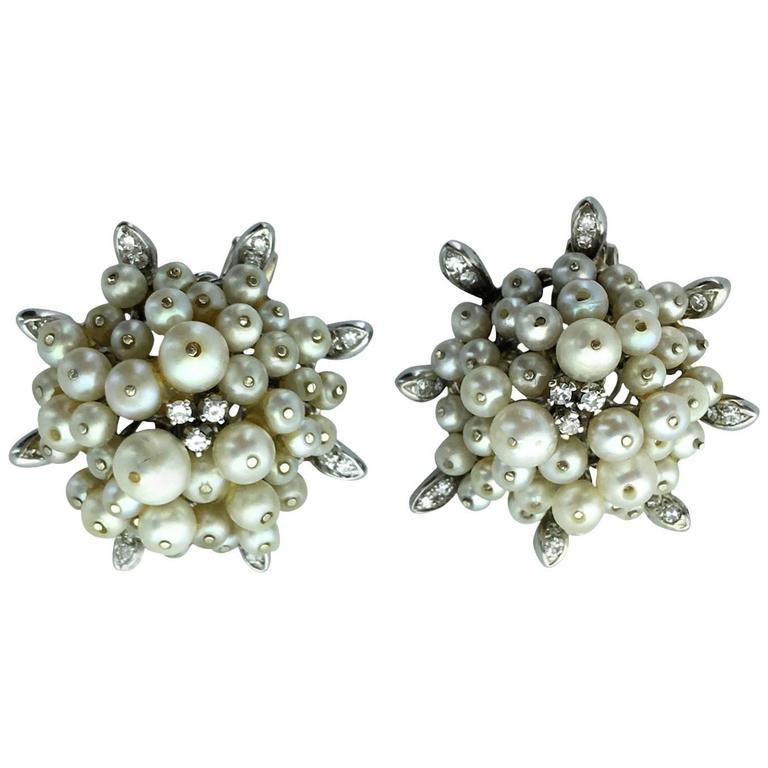 1955 Pearl Diamond Gold Earrings
