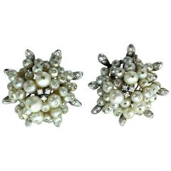 1955 Pearl Diamond Gold Earrings