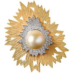 Andrew Grima South Sea Pearl Diamond Gold Brooch Pendant, 2002
