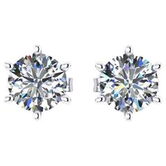 Ferrucci GIA Certified 1.50 Carat Diamonds Platinum Stud Earrings