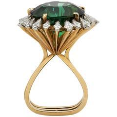 Andrew Grima Tourmaline Diamond Gold Ring, 1974
