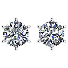 Ferrucci GIA Certified 2.01 Carat Round Diamond Platinum Stud Earrings