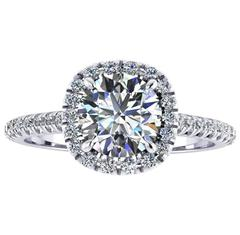 Ferrucci IGI Certified 1.22 Carat Diamond Halo Diamond Set Platinum Ring