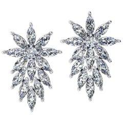 3.40 Carat Marquise Diamonds Star Platinum Earrings