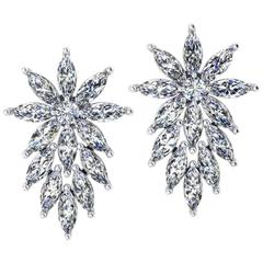Ferrucci 3.40 Carat Marquise Diamonds Star Platinum Earrings